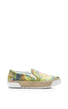 Printed Satin Slip-On Sneakers by Joshua Sanders Now Available on Moda Operandi