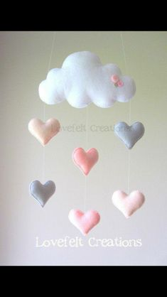 Baby mobile Heart mobile cloud mobile by LoveFeltXoXo on Etsy(Baby Diy Projects) Baby Crafts, Felt Crafts, Diy And Crafts, Cloud Mobile, Felt Mobile, Mobile Mobile, Cool Baby, Baby Decor, Nursery Decor