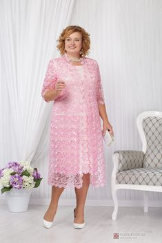 Mid-Calf Plus size Mother of the bride dress with jacket Pink lace women's outfits Work Dresses For Women, Plus Size Prom Dresses, Nice Dresses, Clothes For Women, Mermaid Prom Dresses Lace, Mom Dress, Mothers Dresses, Custom Dresses, African Dress