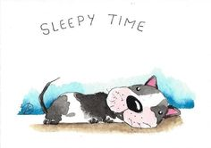 ACEO Original watercolor painting whimsical animal sleepy time puppy dog #IllustrationArt