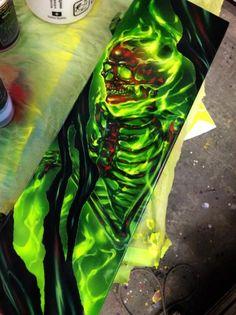 Green Skeleton Airbrushed Tool Box - Painted by Mike Lavallee of Killer Paint - . - Green Skeleton Airbrushed Tool Box – Painted by Mike Lavallee of Killer Paint – www. Airbrush Designs, Airbrush Art, Air Brush Painting, Car Painting, Pinstriping, 4 Tattoo, Yakuza Tattoo, Custom Paint Motorcycle, Skull Artwork