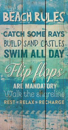 """Hand-assembled with a weathered, nautical look, this Pallet Wall Sign will bring joyful reminder of the ocean, beach or any summertime vacation. """"Beach Rules; Catch some rays; Build sand castles; Swim"""