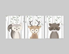 Woodland Nursery Decor Girl Set of 3 Forest Animal Prints Baby Animal Pictures Squirrel Deer Raccoon Pink leaves Set Baby Girl Gift by YassisPlace Woodland Animal Nursery, Woodland Nursery Decor, Woodland Animals, Woodland Theme, Forest Nursery, Bel Art, Deer Baby Showers, Forest Animals, Forest Creatures