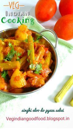 How to make Sahjan Aloo Do Pyaza Recipe   Drumstick & Potato Vegetable In Spicy Onion Tomato Gravy   Shajan Phali Ki Sabzi      singhi #singhialoo #drumsticks #foodblogger #indianrecipes #india #indianfood #sahjan #sahjanphali #moringaoleifera #moringa #moringapods