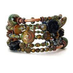 Van Gogh memory wire bracelet beaded bangle by OneEyeCatStudio, $46.00