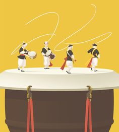 """SamulnoriSamulnori is the genre of traditional percussion music in Korea.The word """"samul"""" means four objects and """"nori"""" means play. Korean Illustration, Flat Design Illustration, Children's Book Illustration, Korean Design, Folk Dance, Talent Management, Korean Art, Graphic Design Typography, Traditional Art"""