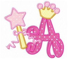 26 princess crown font letters applique machine embroidery design.