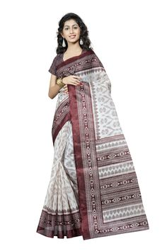 http://www.thatsend.com/shopping/lp/fvp/TESG229042/qf/color[]brown  Brown Silk Casual Saree Apparel Pattern Printed. Work Print. Blouse Piece Yes. Occasion Festive, Sangeet. Top Color Brown.