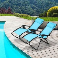 Ollieroo 2-Pack Blue Zero Gravity Lounge Chair with Pillow and Utility Tray Adjustable Folding Recliner Outdoor Patio Chair