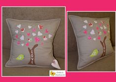 love tree patchwork pillow