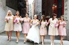 Different bridesmaids dresses.