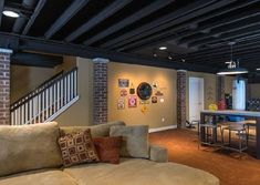 I helped a friend of mine finish his basement but he was not sure what type of ceiling he wanted to put in. There are several options like traditional drywall, tongue and groove boards, acoustic ce…