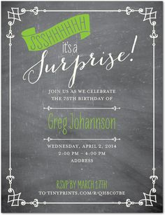 75th Birthday Surprise Invitations for Dad - Love the retro chalkboard-style!