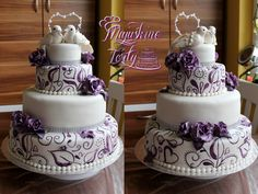 Wedding cake with lovebirds :)  #Wedding #cake #white #purple #violet #doves #on #top #topper #heart #handpainted #ornaments #purple #gumpaste #roses #rings