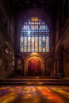 Stained glass windows are gorgeous!- Stained Glass Window in Chester Cathedral, UK Stained Glass Church, Stained Glass Art, Stained Glass Windows, Mosaic Glass, Church Architecture, Beautiful Architecture, Beautiful Buildings, Beautiful Places, Chester Cathedral