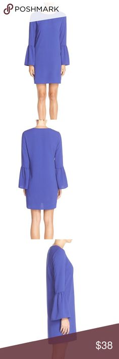 Charles Henry Blue Bell Sleeve Crepe Shift Dress!! Stylish '70's inspired Bell sleeves update this chic shift dress. Jewel neck, long sleeves, lightweight, nonstretch crepe, unlined, 95% polyester 5% spandex. Charley Henry Dresses Long Sleeve