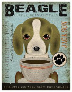 Beagle Coffee Bean Company Original Art Print  by DogsIncorporated, $29.00