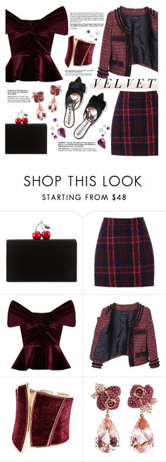 """#104"" by just-a-girl-with-thoughts ❤ liked on Polyvore featuring Edie Parker, Oasis, Emilio De La Morena, GUESS by Marciano, Anyallerie, ESPRIT and velvet"