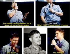 [SET OF GIFS] Jensen convention panel #VanCon2009 (We come prepared for panels^.^)