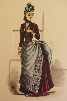Parismode fashion plate 48 dark red and gray late bustle  dress.