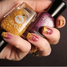 Possibly the coolest gradient EVER! Zoya Aurora and Zoya Gilty 18K Gold Flake Topcoat Gradient (work / play / polish)