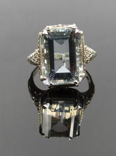 Stunning Art Deco Filigree White Gold and Aquamarine Ring - RGAQ107P