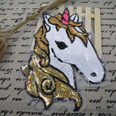 Horse sequined patch Large Sequin Gold Horse Unicorn Applique Patch Motif Sweater sew on patch