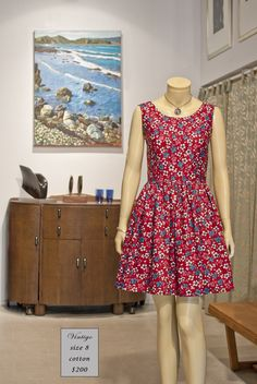 New dress, made by us in Wellington, from medium weight vintage cotton (SOLD)