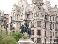 Statue of King Dom Pedro VI in the Plaza Liberdade in Oporto, Portugal