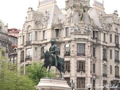 Statue of King Dom Pedro VI in the Plaza Liberdade in Oporto, Portugal