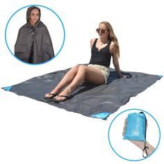 """Yancho - The Waterproof Blanket Pancho (Blue). ✓ IT'S A BLANKET: At 66"""" x 56"""", Yancho is big enough to accommodate four people sitting up and two people lying down. And because it's water resistant, the Yancho will keep you dry even on wet ground. ✓ IT'S A PONCHO: Be ready when unexpected rain strikes. The Yancho turns into a poncho when you unsnap the button that reveals the built-in hood and draw string. ✓ IT'S MULTIPURPOSE: The Yancho can be much more than a blanket and a poncho. Use…"""