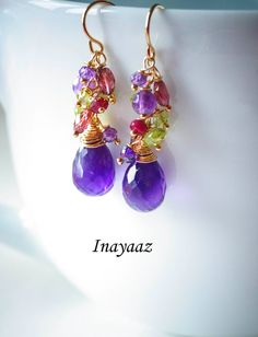 Amethyst Chandelier Earrings Purple Green Peridot by INAYAAZ, $73.56