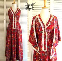 Vintage 1970's Denise L Red Paisley Crochet Lace Maxi Dress with Matching Shawl Size Small/Medium by SatelliteVintageCo on Etsy
