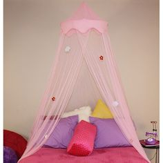 Liven up your child's bedroom with this Dream canopy. Topped with a coordinating solid fabric crown, this pastel pink canopy is the perfect bright touch to any decor</li><li>Hoop canopy will fit twin- through full-size beds</li> Girls Princess Bedroom, Girls Bedroom, Princess Canopy, Bedroom Ideas, Princess Beds, Bedroom Makeovers, Bedroom Designs, Nursery Ideas, Full Size Princess Bed
