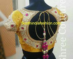 round back neck maggam work blouse