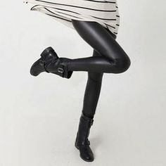 Women Hot Sexy Black Wet Look Faux Leather Leggings Slim Shiny Pants