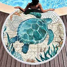 59 inch Round Beach Towel Bohemian Style Beach Shawl Hanging Tapestry Blanket Yoga Mat Octopus/Whale/Sea horse/Turtle Pattern, Size: 150 x 150 Picnic Mat, Picnic Blanket, Camping Blanket, Beach Picnic, Hippie Beach, Picnic Table Covers, Ocean Turtle, Sea Turtles, Towel Girl