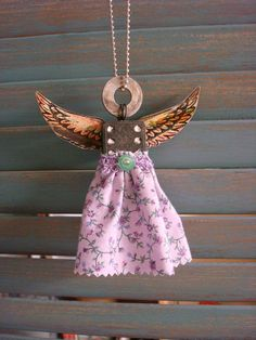 domino angel rustic lavender yellow wings by JJBeeCreations, $12.00