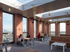 Urbanest Vauxhall | Glenn Howells Architects Architectural Design Studio, Architecture Design, Student Bedroom, Battersea Power Station, Student Living, Meeting Place, Curved Glass, Dormitory, Rooftop Terrace