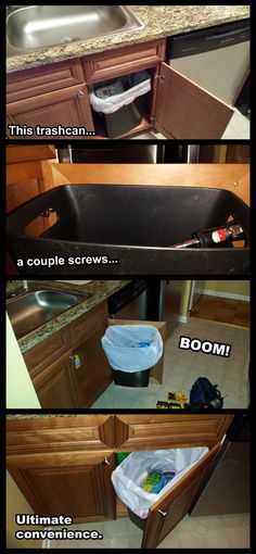 I was tired of reaching under to the trash can, so... - Imgur