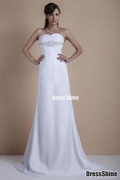 Charming A-line Strapless Chiffon Sweep Train Wedding Dress - Wedding Dresses - Weddings