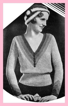 Knitting Pattern Stunning flapper era knitting pattern - art deco jumper & cloche hat - if only this was in colour!Stunning flapper era knitting pattern - art deco jumper & cloche hat - if only this was in colour! Jumper Patterns, Vintage Patterns, Knitting Patterns, Vintage Knitting, Vintage Crochet, Hand Knitting, Handgestrickte Pullover, Flapper Era, Vintage Outfits