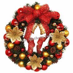 """Merry Christmas Wreath 15.5"""" Garland Window Door Decoration"""