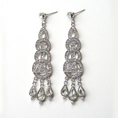Art Deco Earrings Crystal Chandelier Bridal Earrings, Wedding jewelry, Bridal accessory, Tear drop dangle