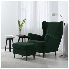 IKEA - STRANDMON, Wing chair, Djuparp dark green, , You can really loosen up and relax in comfort because the high back on this chair provides extra support for your year guarantee. Read about the terms in the guarantee brochure. My Living Room, Living Room Chairs, Living Room Decor, Dining Chairs, Dark Green Living Room, Arm Chairs, Small Living, Strandmon Ikea, Quality Furniture