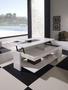 table basse design relevable et transformable akila coloris blanc laqu tavolo pinterest. Black Bedroom Furniture Sets. Home Design Ideas