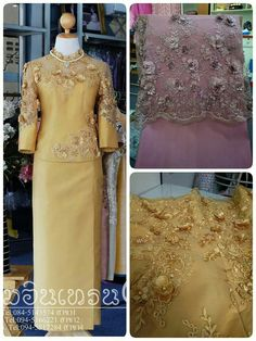 Hot Pink Dresses, Stylish Dresses, Fashion Dresses, Myanmar Traditional Dress, Traditional Dresses, Kebaya Lace, Thailand Fashion, Thai Dress, Brokat