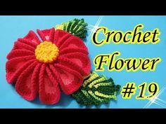 Crochet Flower subtitle is available ) - كروشية زهرة Crochet Flower Tutorial, Crochet Flower Patterns, Crochet Art, Irish Crochet, Double Crochet, Crochet Flowers, Crochet Stitches, Yarn Flowers, Bunch Of Flowers