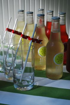 we could also put the straws the empty glass at each setting with the soda bottle next to it