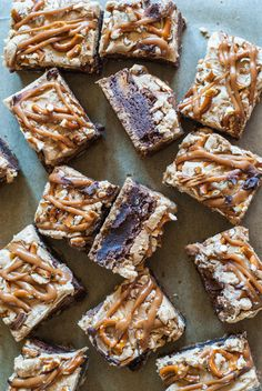 Fudgy Peanut Butter Cup Brownies with Caramel and Pretzel Crust